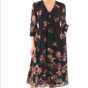 Surplice floral print georgette midi dress